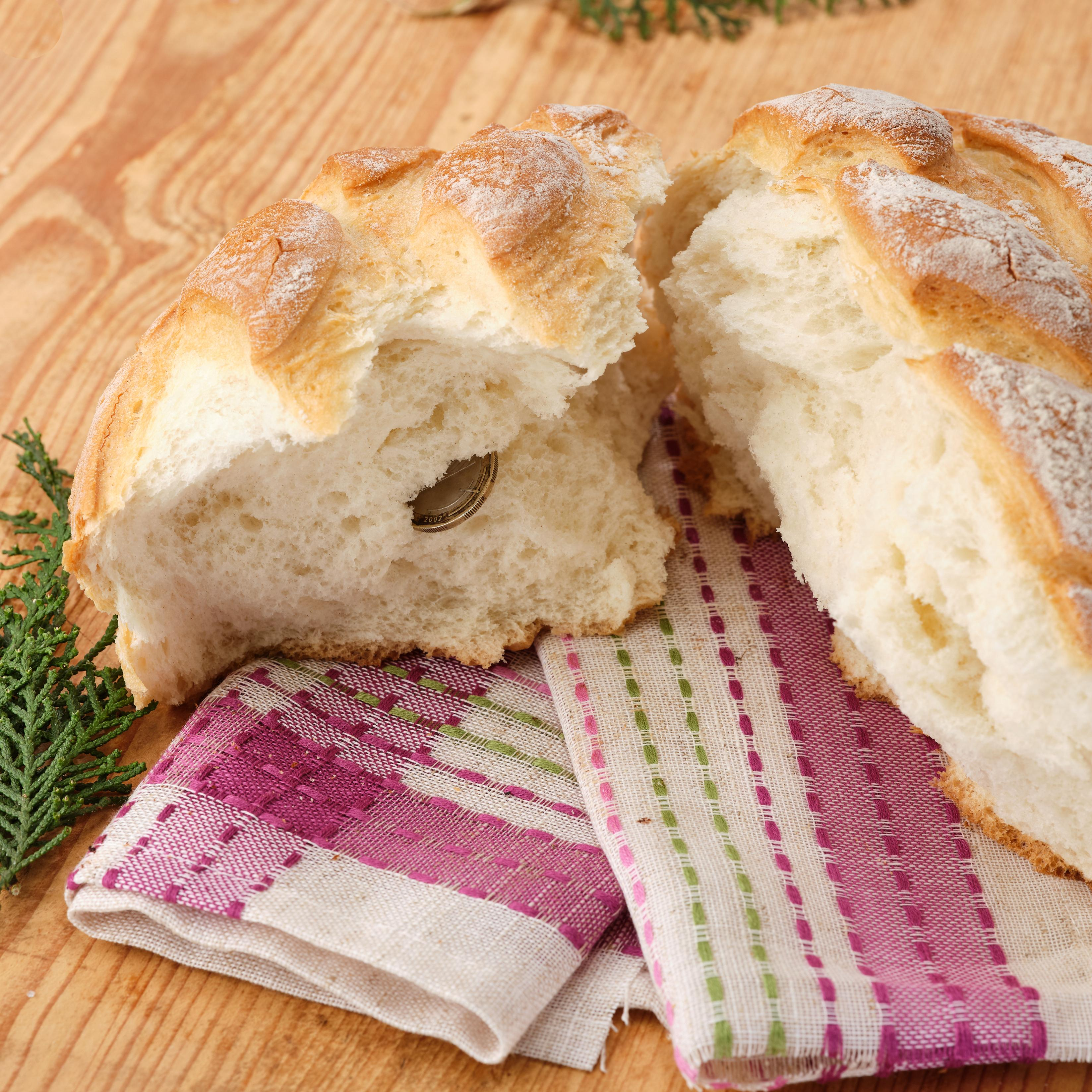 "Traditional Bulgarian bread with the ""lucky coin"""